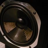 NS-1000M とは違い、樹脂製振動版が採用されています。片方の製品のウーファーユニットの横のキャビネット部に打痕らしきダメージがあります。